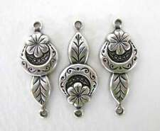 Antiqued Silver Ox Flower Leaf Connector Drop Finding 25mm