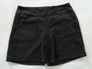 Duluth Trading Womens Stretch Nylon Solid Black Outdoor Casual Shorts Size XL