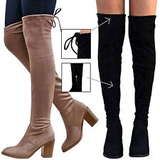 Women Over the Knee High Boots w/ Drawstring Top Block Heel Black Taupe