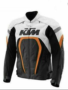 KTM BLACK MOTORBIKE MOTORCYCLE COWHIDE LEATHER ARMOURED BIKERS RACING JACKET...