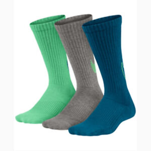 New Nike Kids Boys Socks 3-Pairs Graphic Cotton Cushion Shoe Size 5Y-7Y