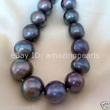 12-14mm Black Near Round Genuine Freshwater Pearl Loose Beads 0.7mm Hole