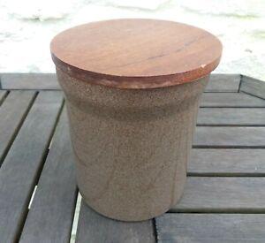 """Denby Greystone: Storage Jar Wooden Lid 5¾"""" / 14.7cm"""