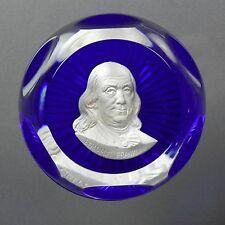 D'Albret Benjamin Franklin Sulphide Paperweight Crystal 1975 Star Base Cobalt