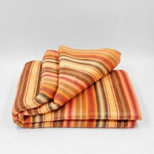 Soft and Warm Handmade Peach Red Striped ALPACA Wool Throw Blanket queen