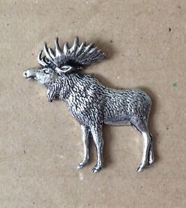 Standing Moose Silver Pewter Pin Badge - Great Detail And Quality