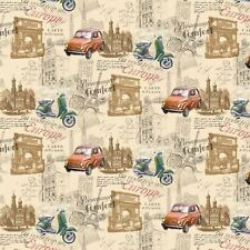 Europe Vintage Road Trip French Stamp Motorbike Tablecloth Oilcloth Fabric