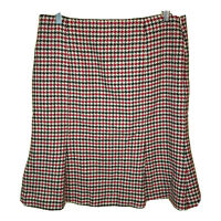 Talbots Size 12 SKIRT Wool Tweed Woven Houndstooth Black & Red Tulip Hem Lined