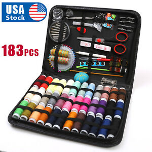 183Pc Sewing Kit Measure Scissor Thimble Thread Needle Storage Box Travel Set