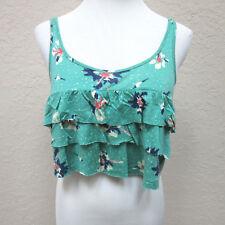 Roxy Junior's XS Green Blue Pink Floral Tiered Crop Top Sleeveless Summer Shirt