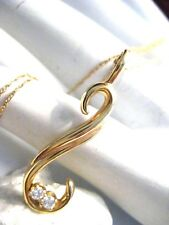"""Vintage 14K Yellow Gold Reverse S Curve Pendant with Diamonds on 18"""" Chain"""