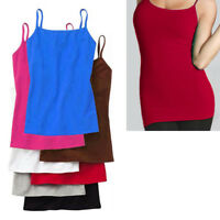 Women's Basic Stretch Camisole Tank Top Spaghetti Strap Long Cami Plain One Size