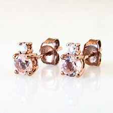 New 10k Rose Gold Genuine Stacked Morgantie & Diamond Round Cut Stud Earrings