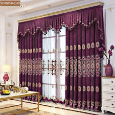 European luxury embroidery Chenille purple cloth blackout curtain valance B779
