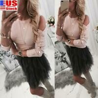 Women Long Sleeve T Shirt Tops Ladies Off Shoulder Button Casual Blouse Pullover