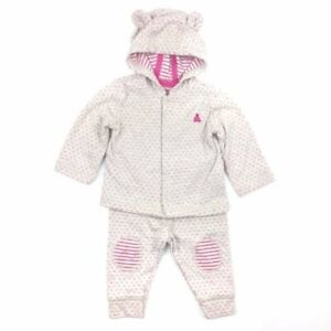 Baby Gap Outfit Hoodie Pants 3-6 months Bear Ear Patch Cardigan Knit Cream Pink