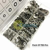 790 x Stainless Steel Assorted Flat Washers Spring Washers For Metric Bolts