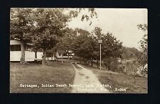 Birchwood Wisconsin WI 1927 RPPC Indian Beach Cabin Row, Hill above Lake Chetac