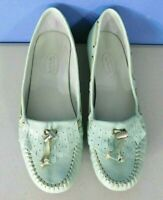 TALBOTS MINT GREEN MOCCASIN LEATHER SLIP ON SHOES, WOMAN'S SIZE 7 1/2 B