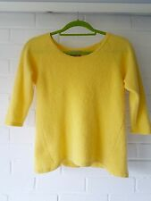 Amazing Pure Collection 100% Cashmere bright yellow rib knit jumper - size Uk14