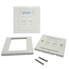 Tede 2 Port UK Style Wall Socket Outlet Panel RJ45 RJ11 Network Keystone Jack