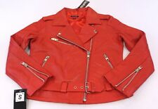Boohoo Women's Lily Leather Biker Jacket Red CB8 Size Small NWT