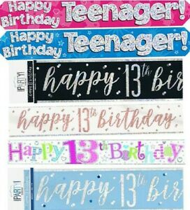 Happy 13th Birthday Party Decorations Banners Teenager Blue Pink Black Age 13