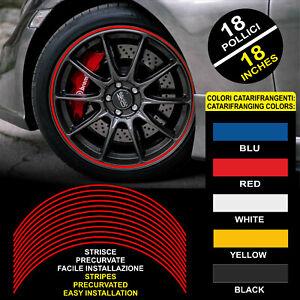 """Strisce Auto adesive adesivi cerchi CATARIFRANGENTI™ 9 mm 18"""" wheel rim stickers"""