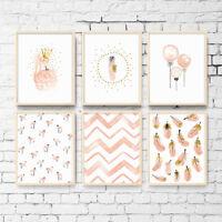 Kawaii Flamingo Feather Canvas Art Poster Prints Nursery Kids Bedroom Decoration