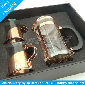 Rose golden SET Glass Tea Coffee Maker  French Press Coffee Plunger with 2 cups