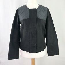 Boden Black Charcoal Grey Bomber Jacket UK 8 Quilted Pockets Zip Up Smart Coat