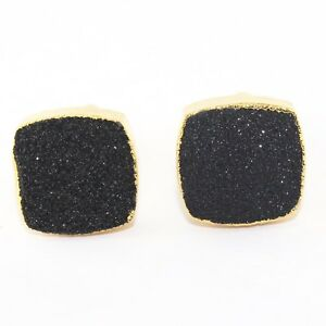 Cushion Multi-Color Natural Agate Sugar Druzy Quartz Gold Plated Mens Cufflinks