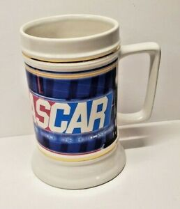NASCAR Racing  Beer Stein Mug Large Cream Ivory White Color Free Shipping