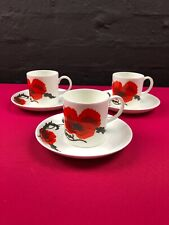3 x Wedgwood Susie Cooper Corn Poppy Smaller Coffee Cups and Saucers Set