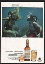 1968 CANADIAN CLUB Whisky - Sexy Woman SCUBA DIVING - Diver - Snorkel VINTAGE AD