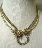 MIRIAM  HASKELL Early Gold-tone & Glass Baroque Pearl Pendant  Necklace ~ RARE!
