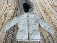 Protection System Girls Coat Size 4 Grey Silver Quilted Faux Fur Trim Hood