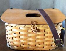 Amish Fishing Creel Basket w/leather strap New