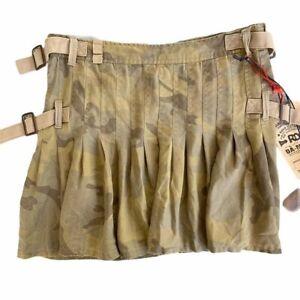 NEW! Da-Nang Camo Pleated Mini Skirt Small Military Cargo Punk Biker 100% Silk