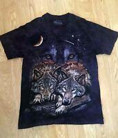 The Mountain Mens Medium T-Shirt Purple Tie-dyed Wolves Night Moon Star USA
