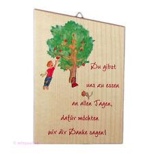 Schutzengeltafel Bild aus Holz mit Engel Emil und Felix - Du gibst uns zu essen