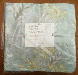 Zara Home Single 140 x 200cm Green Floral Cotton Fitted Bottom Sheet - New