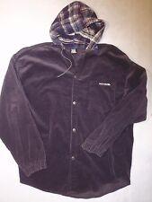 Vintage No Fear men's large purple corduroy snap up jacket plaid flannel hood