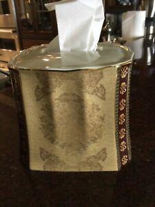CROSCILL GRAMERCY BURGUNDY beige PAISLEY TISSUE BOX COVER HOLDER