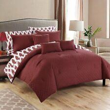 Burgundy Red Lattice Geo Diamond 10 pc Comforter Set Twin Queen King Bed Bag