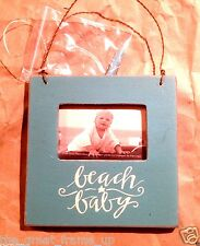 "Primitives By Kathy Wood Box Frame Holds 2""x3"" Photo Turquoise ""Beach Baby"""