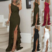 Womens One Shoulder Ruched Ruffle Formal Evening Party Dress Slim Maxi Dresses