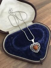 "Lovely 15.5"" Marked Sterling Silver & Amber Ornate Heart Necklace 6gr"