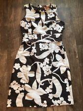tory burch silk brown floral dress Unlined Printed Sleeveless Sz 4 Logo Zipper