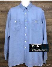 Polo Ralph Lauren Men's 100% Linen Light Blue Long Sleeve Button Front Shirt XL